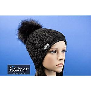Zopfmütze JULIACA 100% Baby-Alpaka schwarz mit vegetarischem Bommel Luxus-Mütze siamo-handmade