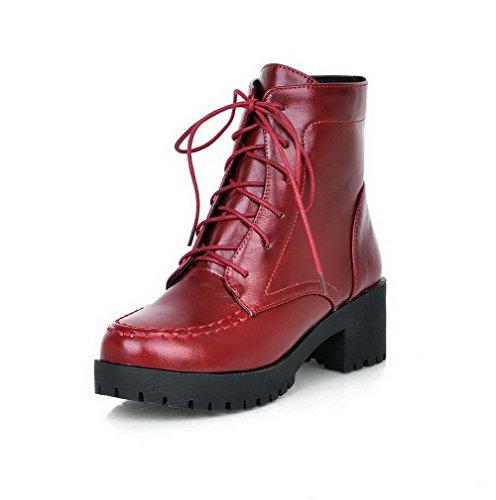 AgooLar Damen Rund Zehe PU Schnüren Mittler Absatz Stiefel, Rot-Wasserdicht Plattform, 41