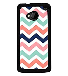 Fiobs High Glossy Designer Phone Back Case Cover HTC M7 :: HTC One M7 ( Colorful Blue Pink White Pattern Design )