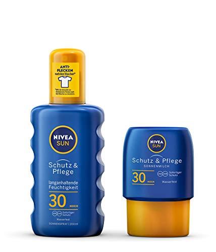 NIVEA Schutz & Pflege Sonnenspray + gratis Reisegröße Sonnenmilch (1 x 200 ml + 1 x 50ml), Sonnenspray mit LSF 30, wasserfeste Sonnenlotion - Feste Creme