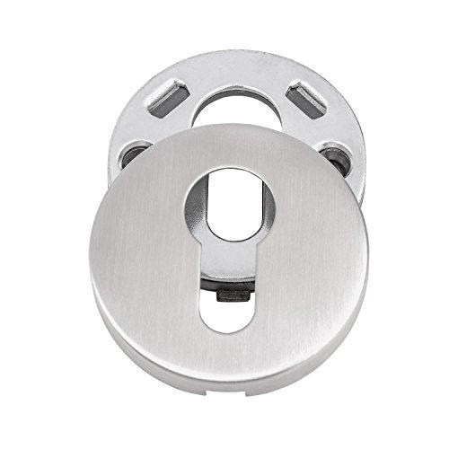 GedoTec® Sicherheitsrosette Schutz-Rosette V2A Edelstahl matt gebürstet | PZ - Profilzylinder | Türrosette für Türstärke 40 mm bis 70 mm | Schutzrosetten-Paar rund für Haustüren & Wohnungseingangstüren | Markenqualität für Ihren Wohnbereich - 2