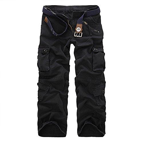 TollMode Herren Cargo Hosen Lang Freizeit Stoffhose Loose Pants (Schwarz, 38)