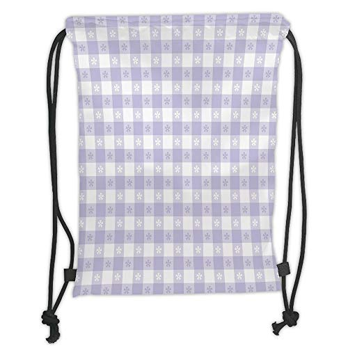 Drawstring Backpacks Bags,Lavender,Pastel Colored Classic Gingham Check Pattern with Delicate Small Blossoms Decorative,Lavander White Soft Satin,5 Liter Capacity,Adjustable String (Classics Small Hobo)