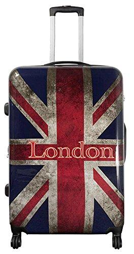 Warenhandel König Polycarbonat Hartschalen Koffer Trolley Reisekoffer Reisetrolley Handgepäck Boardcase Motiv PM (UK London, Größe XL)