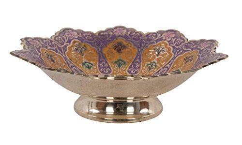 Commerce équitable Scalloped-edged ornementales Laiton Bol décoré à la main 20 cm