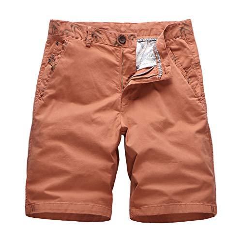 GreatestPAK Herren Baumwolle Cargo Shorts Sommer Lose Outdoor Gewaschen Sporthosen,Orange,EU:XL(Tag:38)