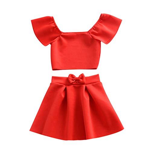 Jinzuke 2pcs Mädchen Fest Weg Schulter Top High Waist Bow Rock-Kind-Baby-Party-Outfits Top Rock Bow Outfit