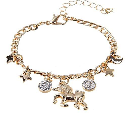 Armband Einhorn für Mädchen, Bettelarmband mit Mondstern und Sonne gold