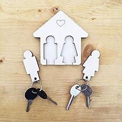 Laserò Porte-clés à Suspendre | Rangement Mural en Bois pour la Maison et le Bureau | Support Organisateur Décoratif | idée de cadeau de couple original | Porte d'Entrée, Armoire, Cuisine