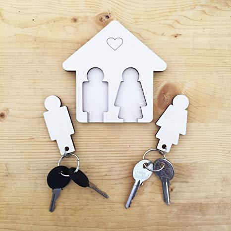 Laserò Wood Wall Porte-clés Porte-clés pour Couples pour Maison d'entrée