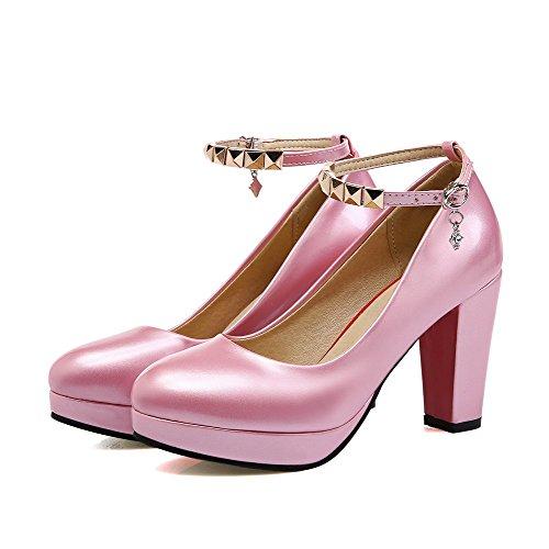 VogueZone009 Damen Hoher Absatz Lackleder Rein Schnalle Rund Zehe Pumps Schuhe Pink