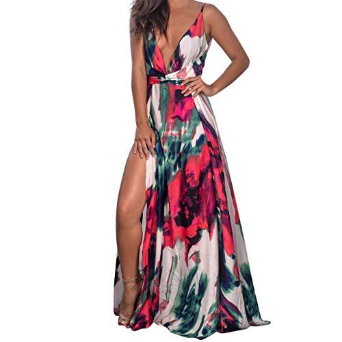 Damen Festliches Kleid Hawaii Urlaub Maxikleider Lang Elegant V-Ausschnitt Hochzeit Kleider Karneval Schulterfrei Sexy Strandkleid Partykleid Sommerkleid Blumendruck Cocktailkleid Abendkleid