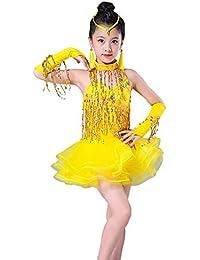 YONGMEI Costume da Ballo - Vestito da Ballo Latino per Bambini Concorso  Stage Dressing Tassels Light Diamond Costumes Abbigliamento per… e8de1e228444