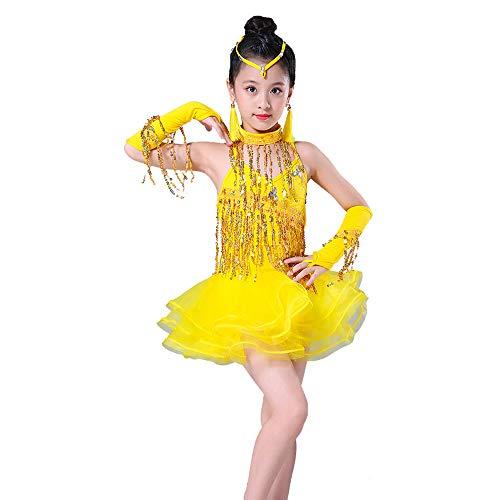 YONGMEI Tanzkostüm - Kinder Latein Tanz Kleid Bühne Wettbewerb Dressing Quasten Licht Diamant Kostüme Kinder Latin Dance Prüfung Kleidung (Farbe : Gelb, größe : ()