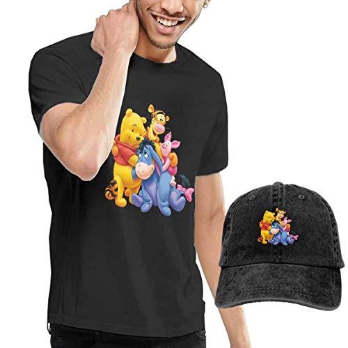 SOTTK Kurzarmshirt Herren, t-Shirts, Tee's, The-Pooh-Piglet-Eeyore-Tigger Men's Classic T-Shirt with Washed Denim Baseball Hat - Tigger Kostüm Shirt