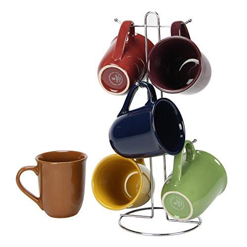 Cafe Amaretto 7PC mug set con filo rack