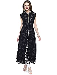 afd2bbf4ffca Shyammc Black georgette with floral printed crepe Sleeveless Zip dress for  women's