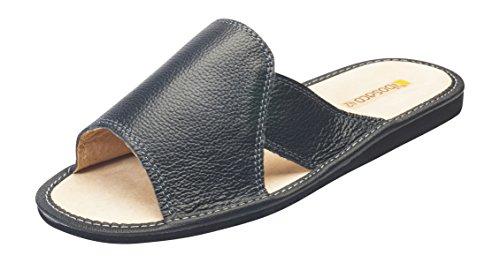 Pantofole Per Uomo, 100% Vera Pelle Di Vacchetta Naturale, Materiale Interno Pelle Nera