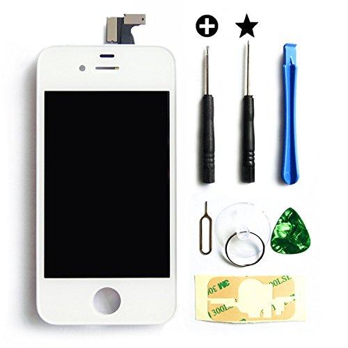 MMOBIEL LCD Ersatz Set für iPhone 4 (Weiss) Display Touchscreen Digitizer Premium komplett Set mit Tool Kit und einfacher Profi Anleitung Iphone 4 Display