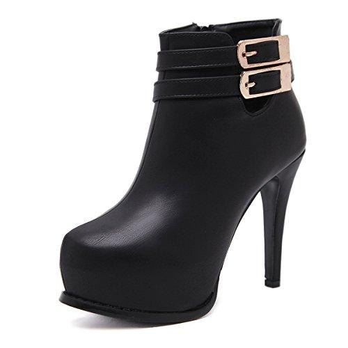CXQ-Stiefel QIN&X Damen Stiletto High Heels Runder Ankle Boots Plattform Pumpen Schuhe, Schwarz, 34 (Pumpe Boot Plattform Schwarze)