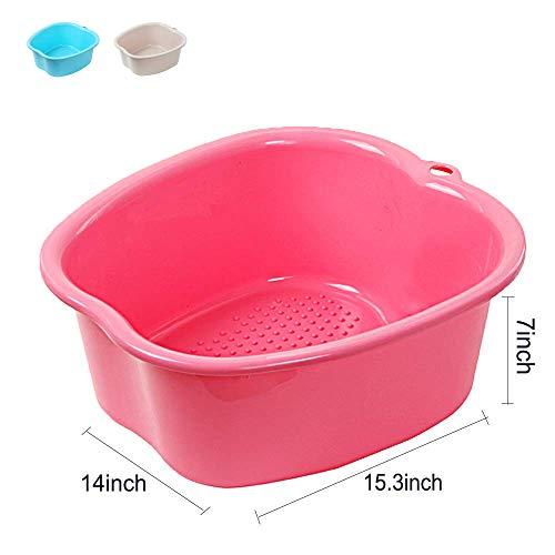 Huichao Cuenco de SPA para baño de pies Grandes, Lavabo para pies de plástico Resistente Grueso para pedicura, desintoxicación y Masaje, remojar Tus pies, uñas de pies y Tobillos,Pink
