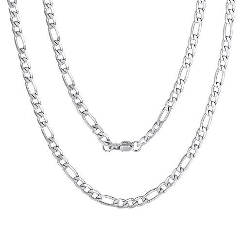 ChainsPro 316 Edelstahl Herren Kette Halskette Statement Figarokette Stück (Silber, 4mm Breite)