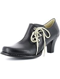 HIRSCHKOGEL Damen Pumps 359640 - Trachtenschuhe Ankle Boots mit Seitlicher Schnürung - Schwarz