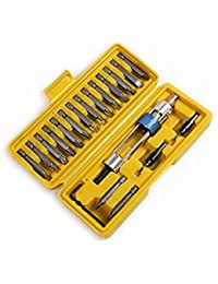 Tradico® 20Pcs 1/4 Inch Hex Shank Drill Screwdriver Bit Set With Drill Chuck Quick Changing Drill Driver One Piece