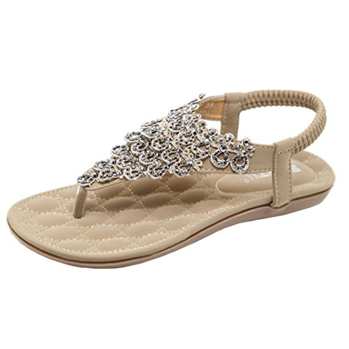 Beautyjourney sandali donna bassi eleganti estivi sandali donna con zeppa infradito donna eleganti con strass mare sandali gioiello donna estivi - donna peep-toe scarpe gioiello donna (35, giallo)