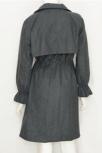La Femme Automne - Hiver Décontracté Corset Lace Bien Épaissir Woolen Trenchcoat Vêtements Grey