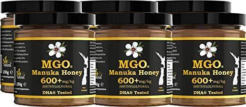BEE NATURAL Manuka Honig / Miel de Manuka MGO® 600+ 250gr. MANUKA HONIG IN EINEM ECHTGLAS GLAS.