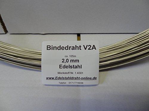 Edelstahldraht 2,0 rostfrei 2mm auf Ring zu 105m 1.4301 V2A