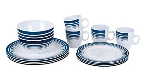 Preisvergleich Produktbild Bo-Camp BC Melamin Tafelservice 16-teilig–weiß/marineblau, N/A