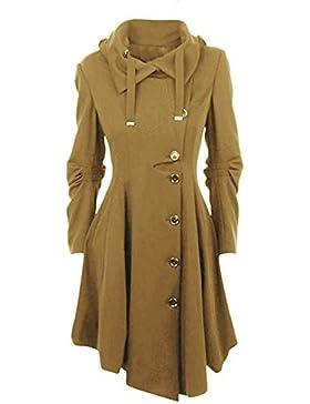 YOGLY Mujer Abrigo de Lana Invierno Chaqueta Larga Irregular Chaqueta Cálida de Mujer