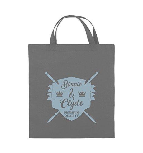 Commedie - Bonnie & Clyde Knight - Motivo - Borsa Di Juta - Manico Corto - 38x42cm - Colore: Nero / Rosa Grigio Scuro / Blu Ghiaccio