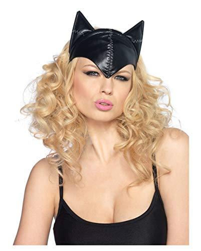 Horror-Shop Katzenmaske im Leder Style schwarz One Size für Fetisch Kostüm, Halloween, Fasching (Schwarze Katze Leder Kostüm)
