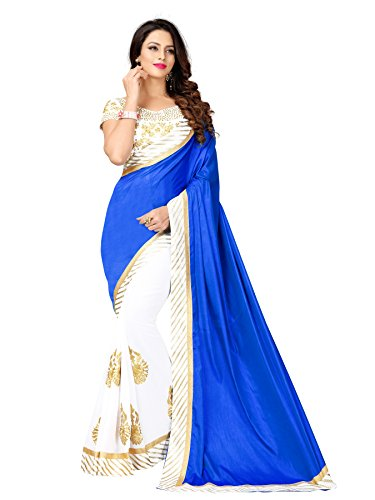 Glory Sarees Silk & Georgette Saree (Mb585 Blue_Blue And White)