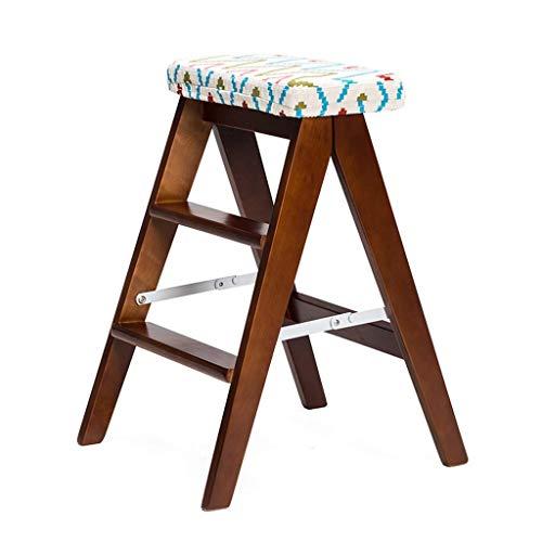 WONS Trittschemel Für Erwachsene Transforming Folding Klappen Leiter Holz Haushaltstreppen Stuhl Stehleiter Verbreiterte Hocker Heavy Duty Max.150Kg