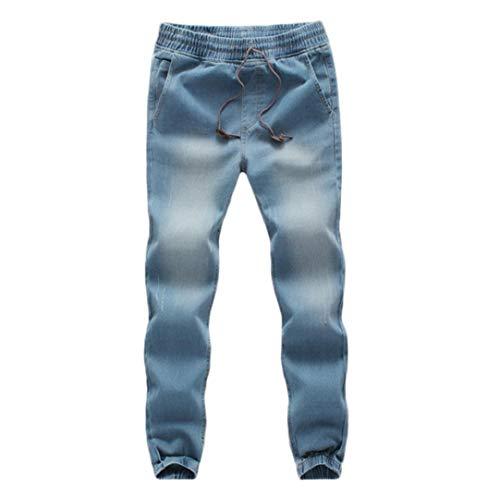 KPILP Männer Casual Kordelzug Denim Große Größe Baumwolle Herbst Winter Elastische Kordelzug Arbeit Arbeitshose Jeans Hosen(Hellblau, 3XL)