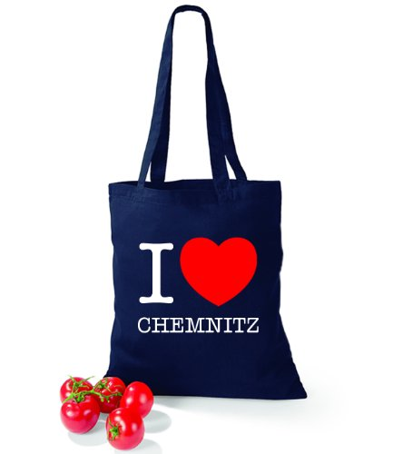 Artdiktat Baumwolltasche I love Chemnitz French Navy