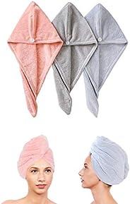 3 عبوات من منشفة الشعر ملفوفة عمامة مصنوعة من الألياف الدقيقة لتجفيف حمام الرأس منشفة تجفيف سريع قبعة شعر ملفو