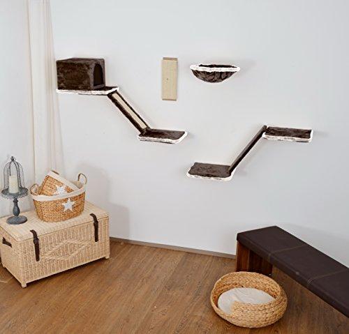 We Are Shopping Katzen-Kletterwand mit Treppe 8-teilig grau, Kratzbaum, Kletterbaum für die Wand