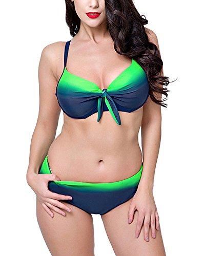 86e7ea8e52e2 Donna Vita Alta Bikini Costumi da Bagno Taglie Forti Due Pezzi con Nappa  Verde 54