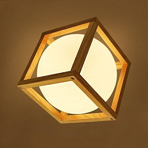 GRFH LED Kugel Pendelleuchten Kreativ Holz Quadrat Rahmen Esszimmer Hotel Kronleuchter Schlafzimmer Decke Holz Solide Beleuchtung Lampe Durchmesser 30Cm * Hohe 30.5Cm Kantenlänge 17Cm 110V-220V