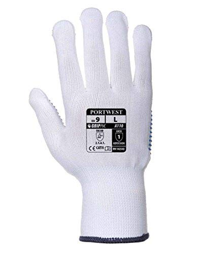 12 Paar Portwest Nylon Polka Dot Arbeit Handschuhe Sicherheit Haftung Gardening DIY A110 (Medium / 8)