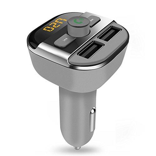 Trasmettitore FM, QPAU Trasmettitore Bluetooth Wireless per Auto Veicoli Lettore Musica con Doppia Porta USB di Ricarica per iPhone SE 6s 6s Plus iPhone 6 6 Plus, Samsung Galaxy S6 S6 Edage S7 S7 Edage, iPad