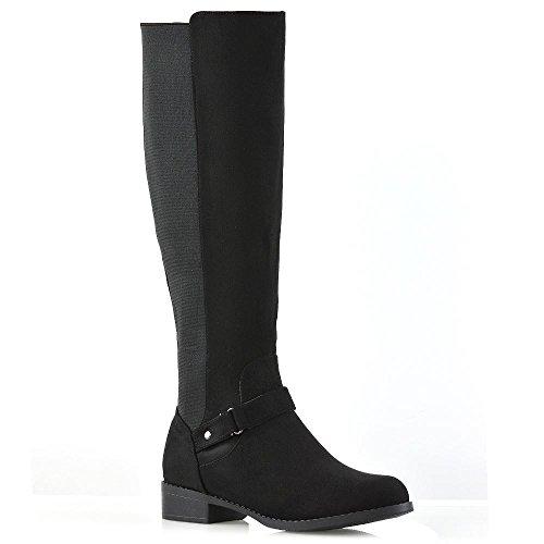 Essex glam donna stivali alti al ginocchio tacco basso le signore nero finto scamosciato fibbia elasticizzato stivali eu 39