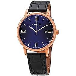 Charmex of Suiza Kyalami Reloj Hombre | 41 mm Fabricado en Suiza | Correa de Piel auténtica Negra | Resistente al Agua | Caja de Acero Inoxidable chapada en Oro Rosa