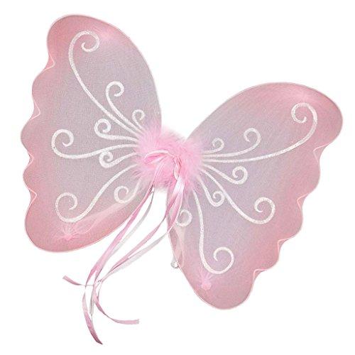 (FITYLE Glitzer Elfen Engel Flügel Karneval Kostüm schmetterlingsflüge Faschingskostüme Butterfly Wing Elfenflügel Feenflügel für Kinder Mädchen - Rosa, 48 x 36 cm)