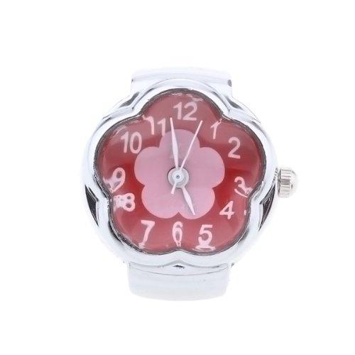 Gleader Reloj de Anillo Cuarzo Aleacion Plateado Esfera Roja Flor para Mujer